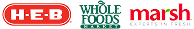 HEB, Whole Foods Market, Marsh logos